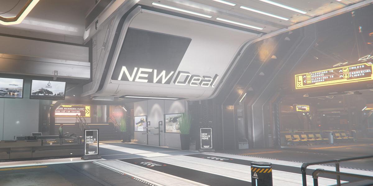 Star Citizen: Schiffe kaufen ingame auf Hurston bei New Deal Ship Shop